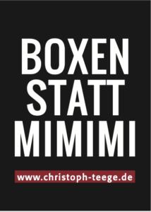Einstellung, Einstellung ändern, Boxen statt Mimimi, Christoph Teege